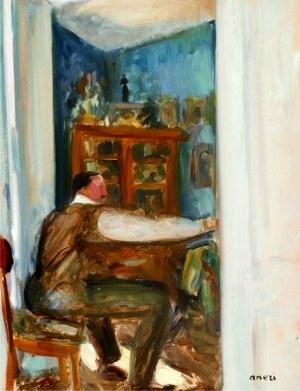 Aneri Irena Weissowa (1888-1981), Wojciech Weiss malujący w salonie, ok. 1920