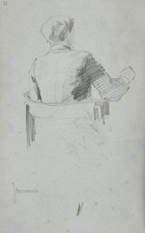 Stanisław Kaczor Batowski (1866-1945), Mężczyzna siedzący w fotelu oraz szkice głów - Stanisław Janowski przy pracy