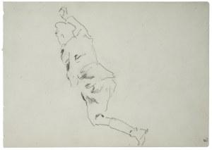 Wojciech Kossak (1856-1942), Studium ułana z uniesioną prawą ręką - szkic