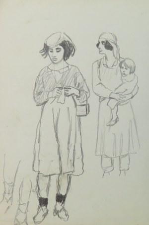 """Ludwik Antoni Maciąg (1920-2007), Młoda kobieta, matka z dzieckiem na rękach, studia nóg - szkic typów ludowych i kostiumów - z cyklu """"Szkice z Albanii"""""""