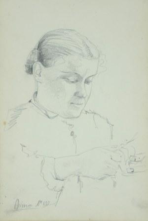 Włodzimierz Tetmajer (1861 - 1923), Kobieta obierająca owoc, 1900