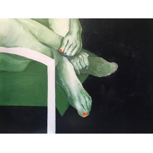 Anna Macugowska, Akt z zielenią i oranżem, 2018
