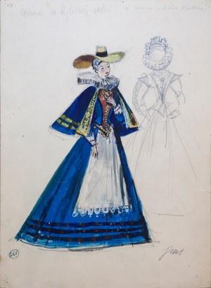 Jan Szancer (1902 - 1973), Panna w niebieskiej sukni - projekt stroju