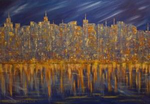 Danuta Niklewicz, Manhattan-Impresja wieczorna, 2018 r.