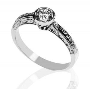 GRAWEROWANY złoty pierścionek z brylantem 0.40ct