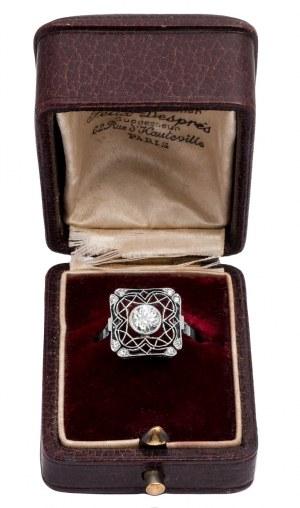 Artystyczny UNIKATOWY pierścionek z filigranowymi wycinankami PLATYNA