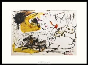 Barbara Jonscher (1926–1986), Kompozycja z kotami i koniem w galopie*