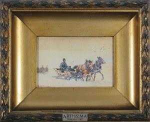 Adam Setkowicz (1875–1945), Sanie jadące przez zaśnieżone pola