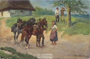 Jerzy Kossak (1886–1955), Ułan i dziewczyna*, 1929