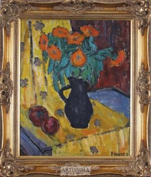 Franciszek Hayder (1905–1990), Kwiaty w wazonie na żółtej draperii*