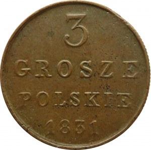 Mikołaj I, 3 grosze 1831 K.G., Warszawa, ładne
