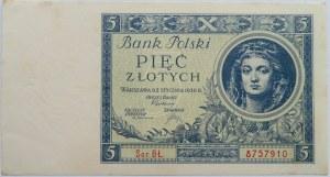 Polska, II RP, 5 złotych 1930, seria BŁ, piękny