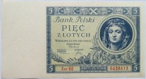 Polska, II RP, 5 złotych 1930, seria BO, UNC