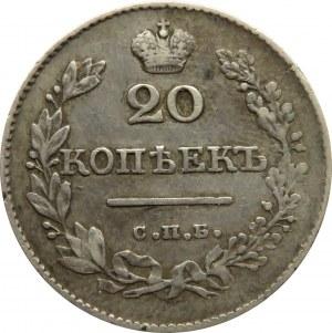 Rosja, Mikołaj I, 20 kopiejek 1827 HG, Petersburg, rzadszy rocznik