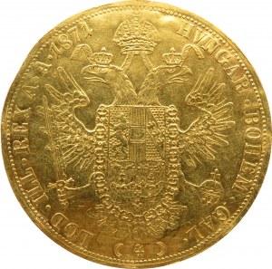 Austro-Węgry, Franciszek Józef I, 4 dukaty 1871 A, Wiedeń, rzadkie