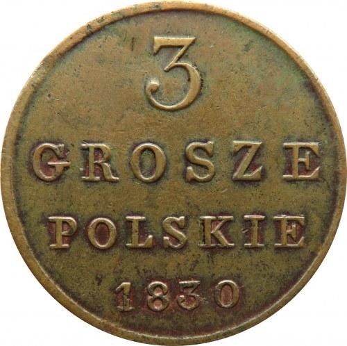 Mikołaj I, 3 grosze 1830 F.H., Warszawa, ładne