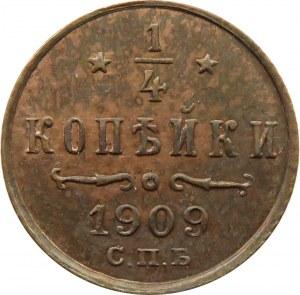 Rosja, Mikołaj II, 1/4 kopiejki 1909, Petersburg, UNC
