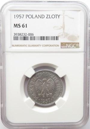 Polska, PRL, 1 złoty 1957, NGC MS61, najrzadszy rocznik