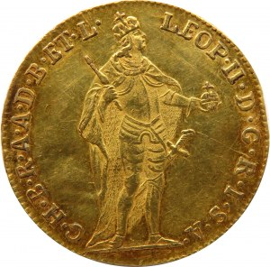Austria, Leopold II, dukat 1791, Kremnica, ładny i rzadki