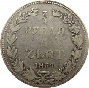 Mikołaj I, 3/4 rubla/5 złotych 1834 HG, Petersburg