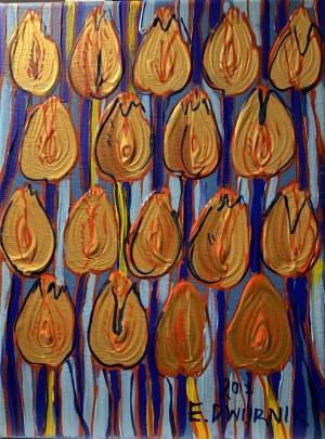 Edward Dwurnik (1943-2018), Złote tulipany, 2017
