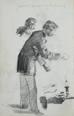 Stanisław Kaczor Batowski (1866-1945), Mężczyzna z kagankiem ze świecą obok jego głowa niżej ręka trzymająca kaganek