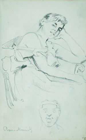 Stanisław Kaczor Batowski (1866-1945), Młoda kobieta siedząca w fotelu oraz głowa mężczyzny z otwartymi ustami