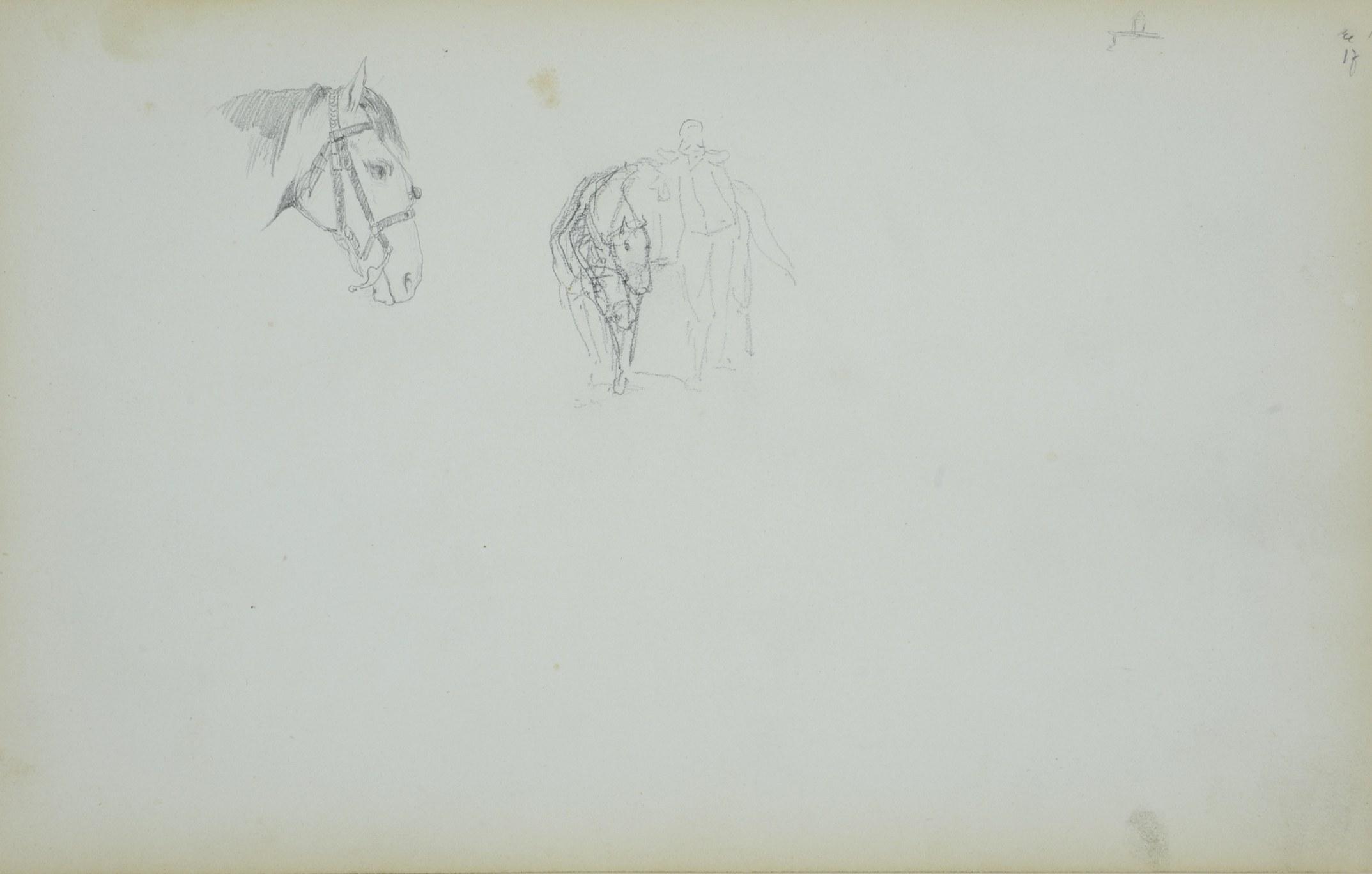 Stanisław Chlebowski (1835-1884), Głowa konia i szkic jeźdźca z koniem