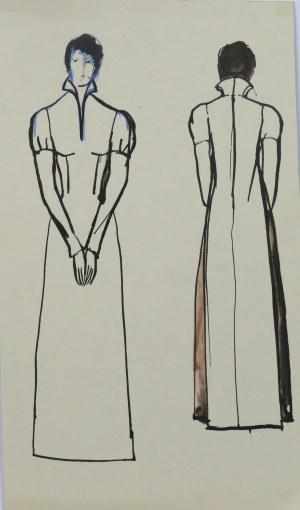 Ludwik Antoni Maciąg (1920-2007), Postać kobiety w długiej sukni historycznej ze skutymi rękoma - szkic