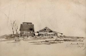 Tadeusz Rybkowski (1848-1926), Wiejskie zabudowy, 1887