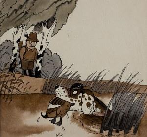 Jerzy Flisak (1930-2008), Ilustracja do książki Bardzo zajęte psy, nr 22