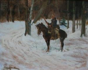 Jerzy Kossak (1886-1955), Ułan na widecie