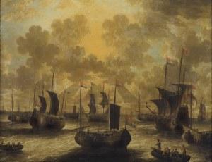 van den Velde Peter, ŻAGLOWCE I ŁODZIE W ZATOCE, 1704