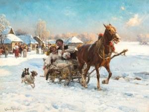 Alfred Wierusz-Kowalski, W mroźne popołudnie, ok. 1890