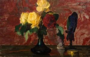 Leon Wyczółkowski, Martwa natura z różami i ptakiem, 1907