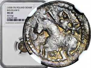 Bolesław II Śmiały 1058-1079, Denar książęcy, książę na koniu, bez tarczy, z włócznią, krzyż