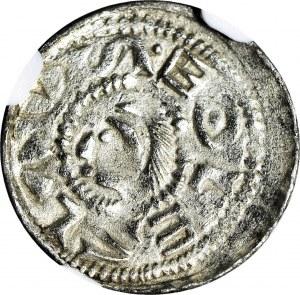 RR-, Bolesław II Śmiały 1058-1079, Denar książęcy, książę przed koniem, z tarczą, z włócznią do góry, litera S