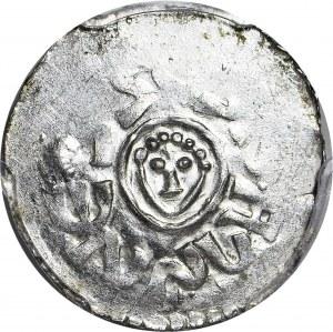 RRR-, Bolesław III Krzywousty 1107-1138, denar wrocławski przed 1107, nienotowana MAŁA GŁOWA, R8