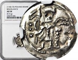 Bolesław IV Kędzierzawy 1146-1157, Denar bracia za stołem, Rycerz obok 3 kropki