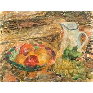 Pinchus Krémegne (1890 Zaloudock – 1981 Céret) Martwa natura z dzbanem i talerzem z owocami
