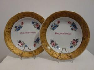 Para porcelanowych talerzy kolekcjonerskich z Limoges, Francja