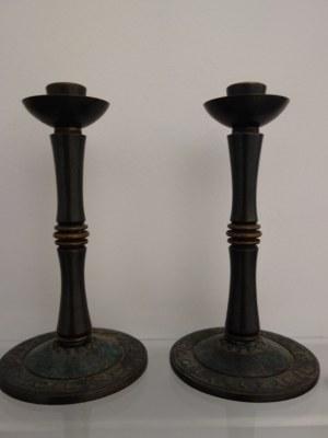 Para mosiężnych świeczników szabasowych Pal-Bell (Maurice Ascalon), Izrael, XX w.