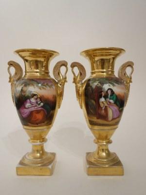 Para porcelanowych, pozłacanych wazonów Empire, Francja, XIX w.