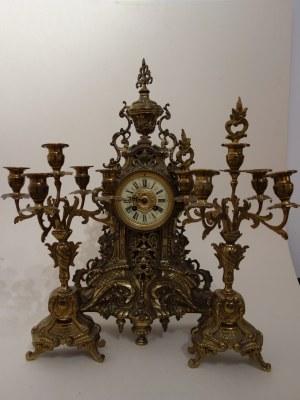 Komplet zegar stojący i para świeczników, Belgia, koniec XIX.-pocz. XX w.