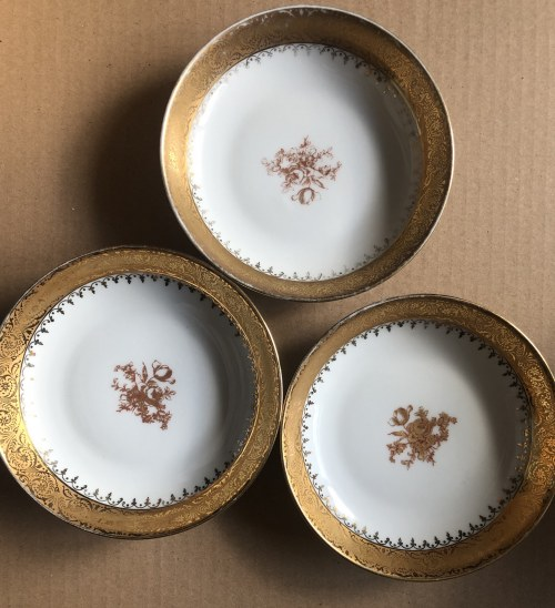 Zestaw ozdobnych porcelanowych talerzy marki G.Rosier z Limoges, Francja (3 szt.)