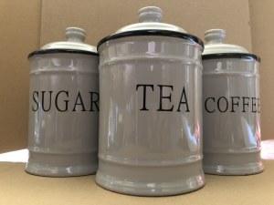 Komplet ceramicznych pojemników na herbatę, kawę i cukier