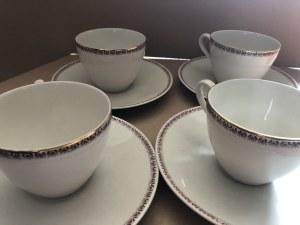 Zestaw porcelanowych filiżanek ze spodkami marki Bavaria Edelporzellan, Bawaria, Niemcy, (4 szt.)