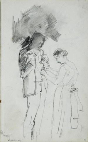 Stanisław Kaczor Batowski (1866-1945), Kobieta zapinająca surdut mężczyźnie