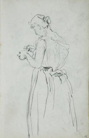 Stanisław Kaczor Batowski (1866-1945), Młoda kobieta stojąca ukazana z lewego boku od tyłu