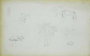 Stanisław Chlebowski (1835-1884), Szkice postaci, koni i szkic leżącego psa